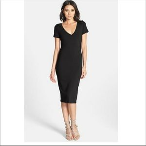 Leith black fitted midi t-shirt dress